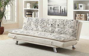 French Script Fabric Sofa Bed with Chrome Legs - Beige