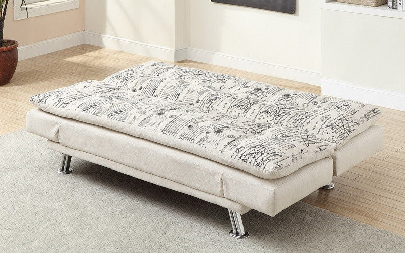 French Script Fabric Sofa Bed With Chrome Legs Beige