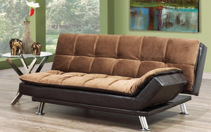 Elephant Skin Fabric Sofa Bed with Chrome Legs - Brown | Espresso