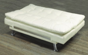 Leather Sofa Bed with Chrome Legs - White