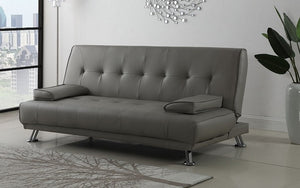 Leather Sofa Bed with Chrome Legs - Grey