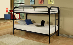 Bunk Bed - Twin over Twin with Metal - Black | White | Grey | Blue | Red