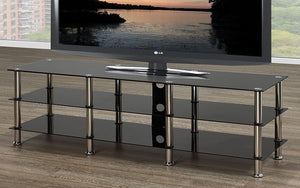 TV Stand with Chrome Legs - Black