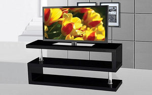 TV Stand with Shelves - Black