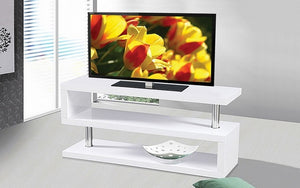 TV Stand with Shelves - White