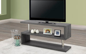 TV Stand with Shelves - Reclaimed Grey