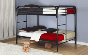 Bunk Bed - Double over Double with Metal - White | Black | Grey
