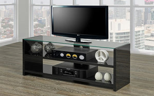 TV Stand with Glass Top and Shelves - Black