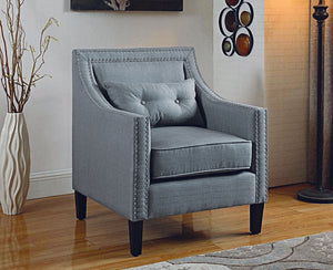 Accent Chair Fabric with Nailhead Details and Accent Pillow - Grey