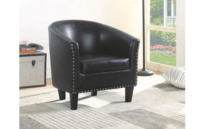 Accent Chair Leather with Nailhead Details - Grey