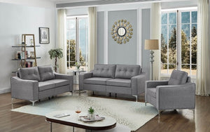 Sofa Set - 3 Piece with Breathable Fabric - Grey