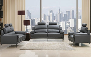Top Grain Leather Sofa Set - 3 Piece - Grey