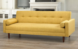 Fabric Sofa Bed with Arm Rest - Golden Yellow