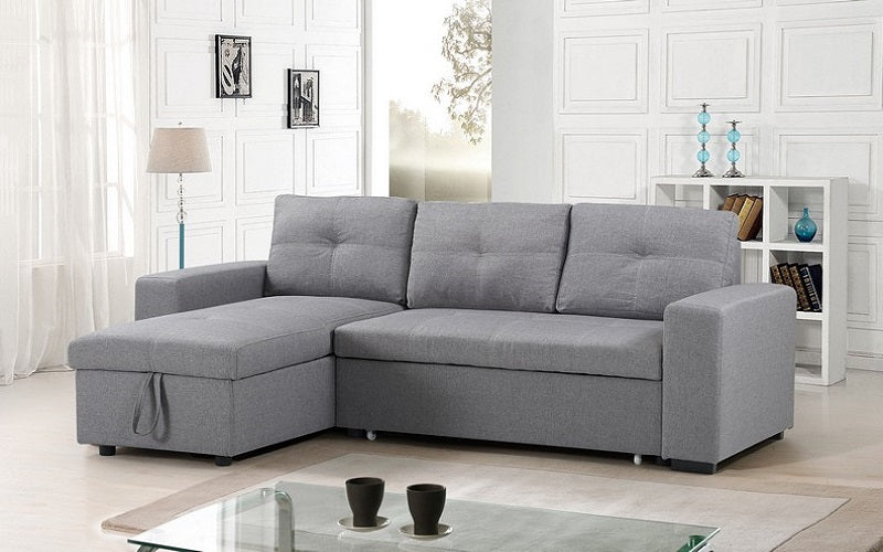 Linen Sectional Sofa Bed With Reversible Chaise   Grey