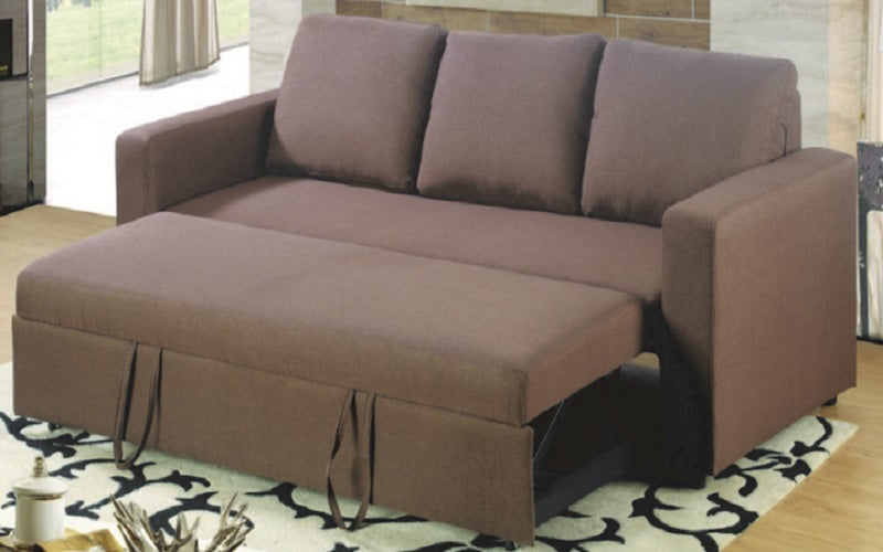 Fabric Sofa Bed with Arm Rest - Brown