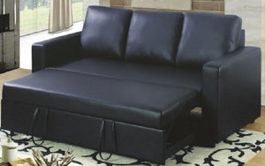 Leather Sofa Bed with Arm Rest - Black