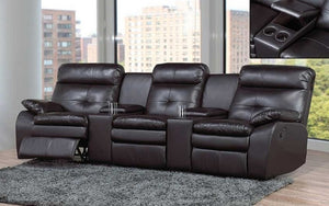 Recliner Theatre Sofa with Air Leather - Black