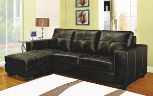Leather Sectional with Reversible Chaise - Espresso