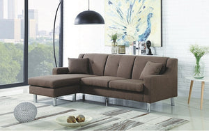 Linen Sectional with Reversible Chaise - Brown