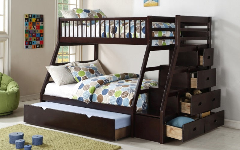 Bunk Bed - Twin over Double with Trundle, Drawers, Staircase Solid Wood - Espresso