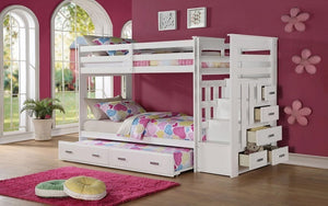 Bunk Bed - Twin over Twin with Trundle, Drawers, Staircase Solid Wood - White