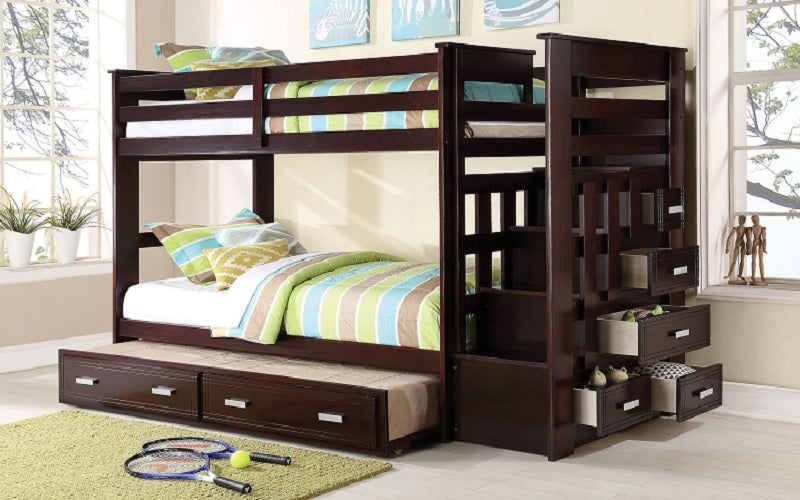 Bunk Bed - Twin over Twin with Trundle, Drawers, Staircase Solid Wood - Espresso