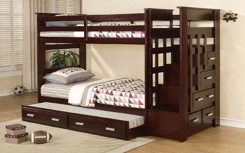 Bunk Bed Twin Over Twin With Trundle Drawers Staircase Solid