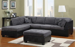 Fabric Sectional Set with Left Side Or Right Side Chaise and Ottoman - Grey | Charcoal Black