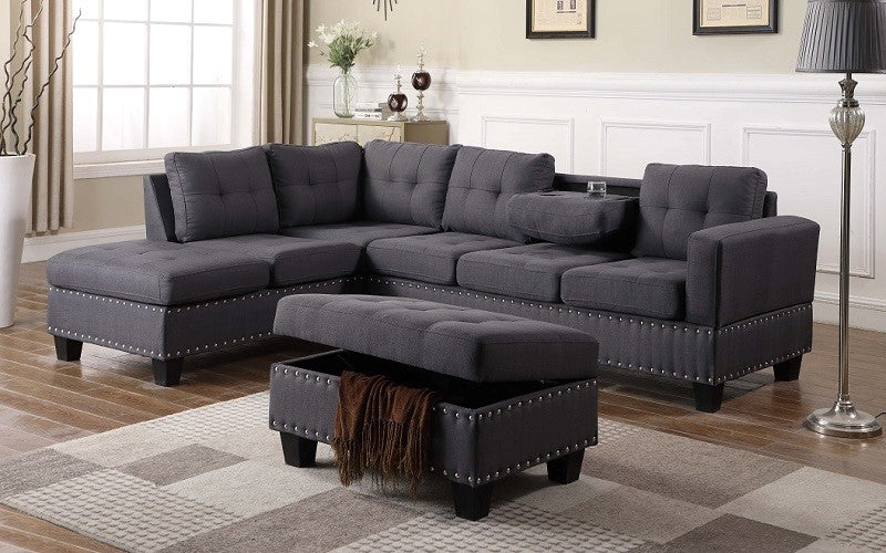 Fabric Sectional Set with Reversible Chaise and Ottoman - Dark Brown