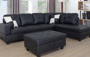 Leather Sectional Set with Chaise and Ottoman - Black
