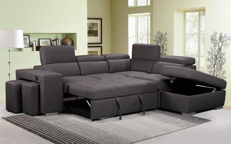 Air Suede Fabric Sectional Sofa with Chaise and Stools - Grey