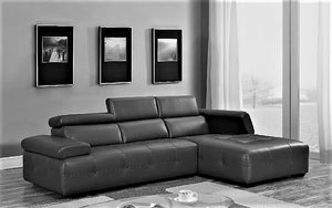 Leather Sectional with Adjustable Headrest and Chaise - Black
