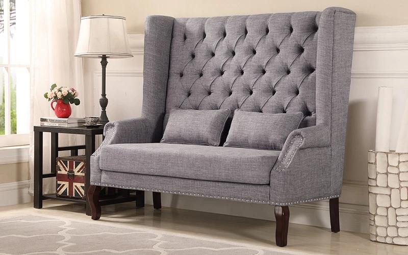 Fabric Love Seat - Beige