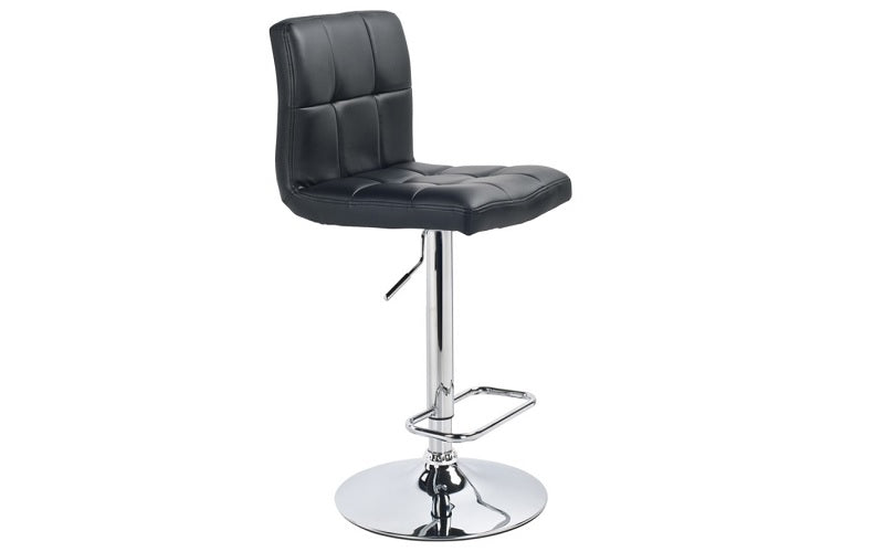 Bar Stool With High Back & 360° Swivel Leather Seat - White | Black
