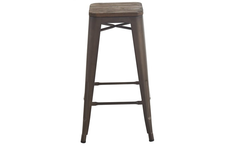 Bar Stool With Metal Frame - Wood | Gun Metal Grey
