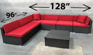 Outdoor Sectional Set - 7 pc (Dark Brown & White | Red | Green | Mustard)