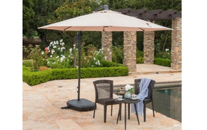 Outdoor Offset Patio Umbrella - Brown | White | Red