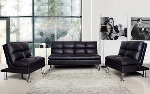 Leather Sofa Bed Set - 3 pc - Black