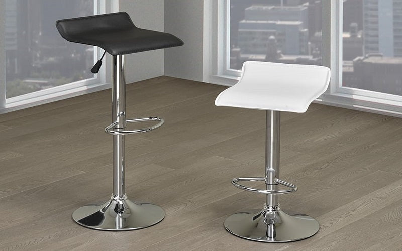 Bar Stool With Low Back & 360° Swivel Leather Seat - Black | White