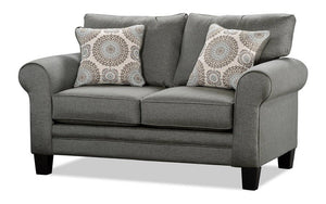 Fabric Love Seat with Pull Out Bed - Steel Grey