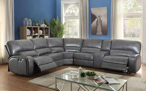 Power Recliner Corner Sectional with Air Leather - Black | Chocolate | Grey