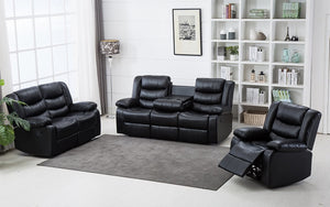 Recliner Set - 3 Piece with Air Leather - Black | Chocolate