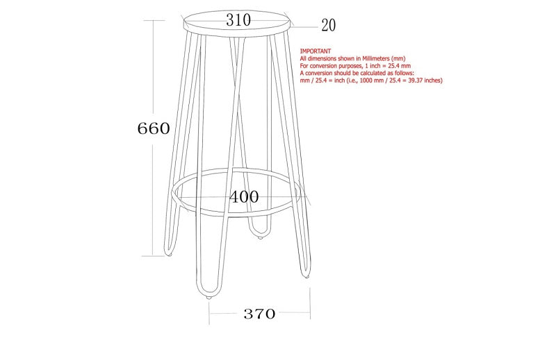 Bar Stool With Metal Frame - Wood | Black