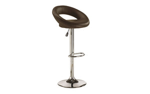 Bar Stool With Curved Back & 360° Swivel Leather Seat - Black | White | Espresso - Set of 2 pc