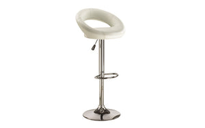 Bar Stool With Curved Back & 360° Swivel Leather Seat - Black | White | Espresso