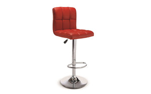 Bar Stool With High Back & 360° Swivel Leather Seat - Black | White | Espresso | Red