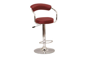 Bar Stool Curved Back with Chrome & 360° Swivel Leather Seat - Black | White | Espresso | Red