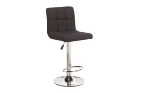 Bar Stool With High Back & 360° Swivel Fabric Seat - Red | Grey | Charcoal | Black