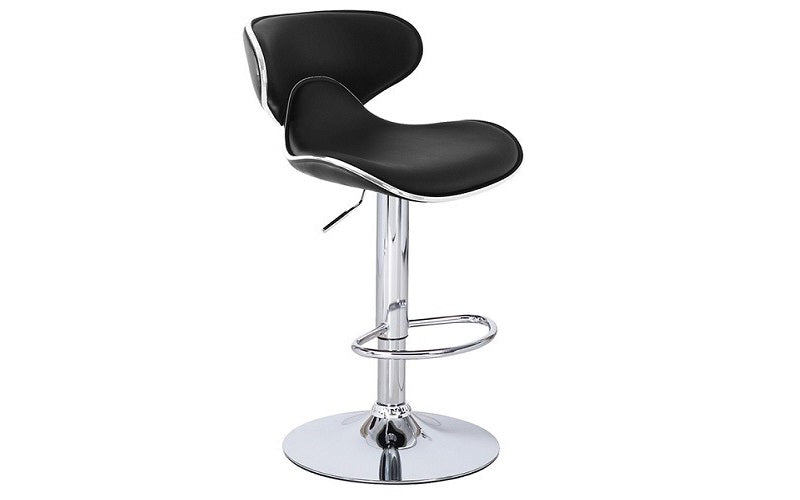 Bar Stool With Curved Back & 360° Swivel Leather Seat - White | Black | Espresso