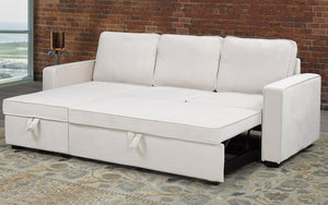Velvet Sectional Sofa Bed with Reversible Chaise - Beige